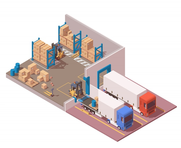 Isometric modern warehouse include semi trucks, pallets, boxes, forklift and pallet jack.
