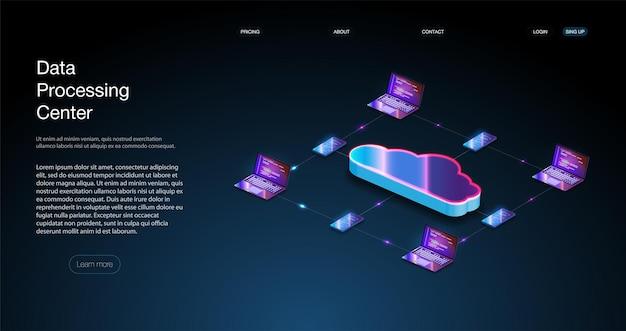 Изометрические современные веб-облачные технологии и концепция сети. облачные вычисления, большие данные. концепция центра обработки данных, облачной базы данных, серверной электростанции будущего.