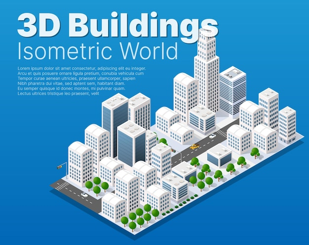 Isometric module block district part of the city with a street road building