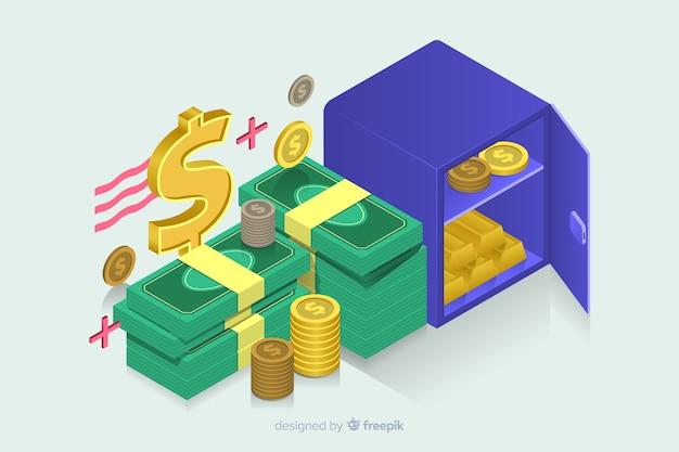 Isometric money background