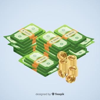 等尺性のお金の背景