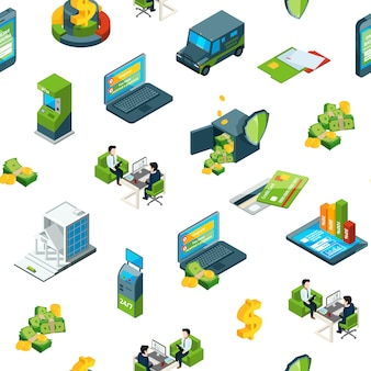 Isometric money bank icons