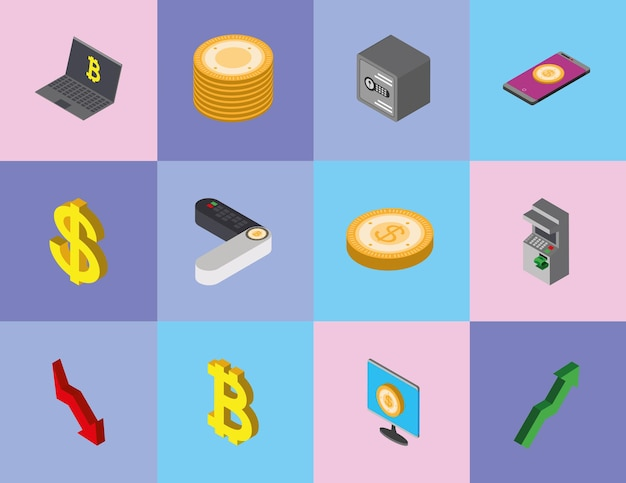 Isometric money coins mobile payment
