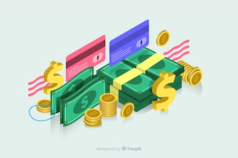 Isometric money in flat design