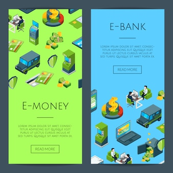 Isometric money flow in bank icons