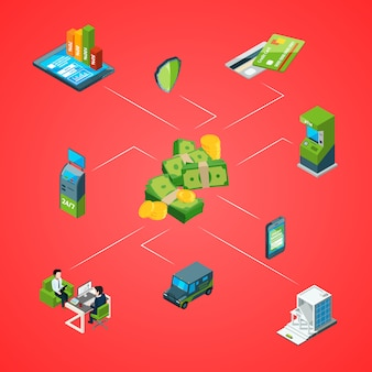 Isometric money flow in bank infographic illustration
