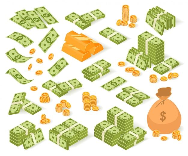 等尺性のお金のイラストセット、紙ドル紙幣、コインバッグ、白地に金の延べ棒のお金のスタックの漫画コレクション