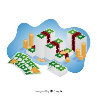 Isometric money saving concept background