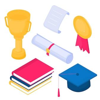 아이소메트릭 각모, 승자 컵, 졸업장, 황금 메달, 책. 흰색 바탕에 벡터 졸업 아이콘의 집합입니다.