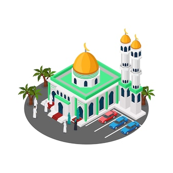Isometric mosque building with minaret
