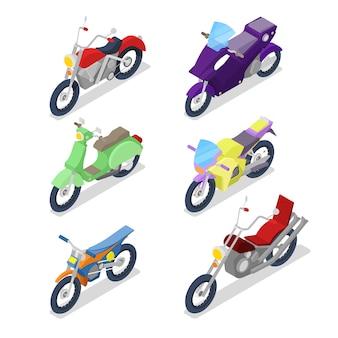 Набор изометрических мотоциклов с мотокроссом и байкерским велосипедом