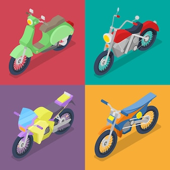 Isometric motorcycle set with motocross and scooter
