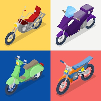 Isometric motorcycle set with mountaine bike and scooter