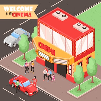 Isometric movie cinema composition with outdoor view of city street with cars people and theater building  illustration