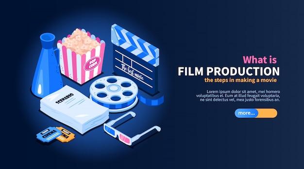 Il concetto isometrico del diagramma di flusso del cinema di film con le immagini degli oggetti relativi al cinema casuali manda un sms a e l'illustrazione del bottone del cursore