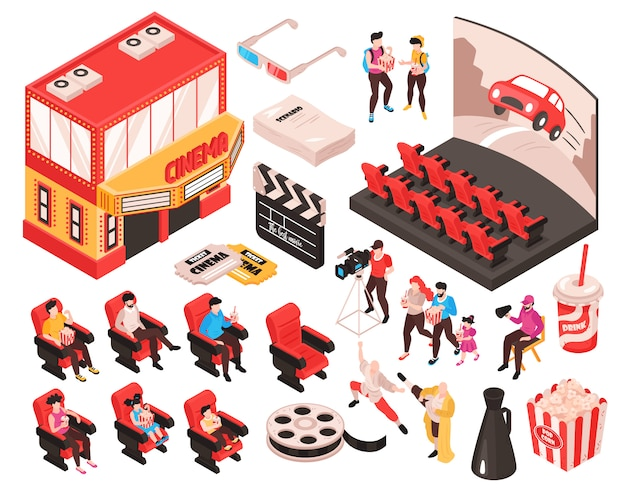 Isometric movie cinema set of isolated elements theater building audience seats and accessories of movie watchers  illustration