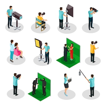 Isometric movie crew shooting collection with producer film director actors cinematographer camera operator production designer makeup artist isolated
