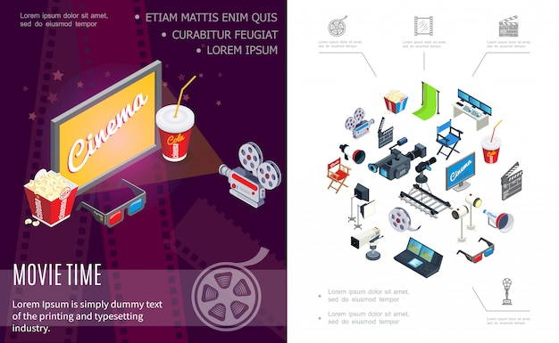 Isometric movie time composition with cameras screen soda popcorn 3d glasses hromakey clapperboard director chair film reel megaphone projectors audio record console