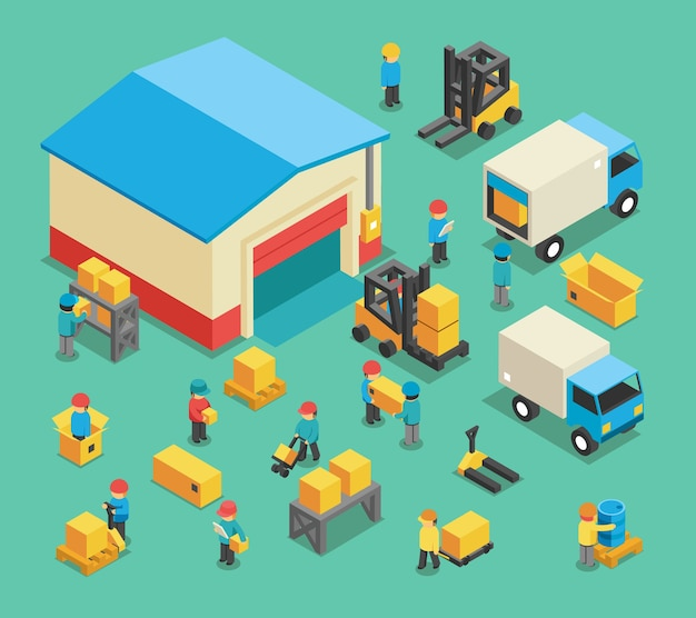 等尺性の移動貨物および倉庫の従業員。倉庫保管、輸送ロジスティクス、倉庫産業および設備。倉庫と倉庫の従業員のベクトル図
