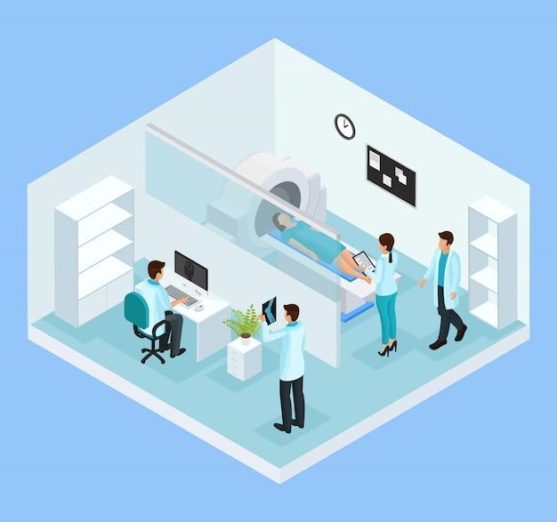 Isometric mri diagnostic process concept