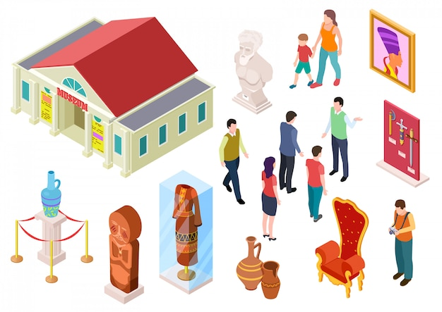 Isometric museum. art gallery exhibition visitors sculpture and artworks. people in museums. 3d vector set