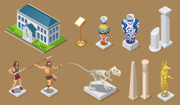 Isometric museum icons collection with building ancient vases columns egyptian constructions primitive people dinosaur pharaoh exhibits isolated