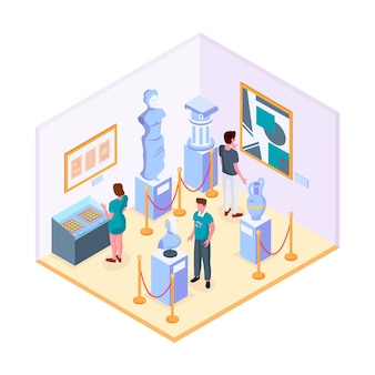 Isometric museum illustration with artifacts