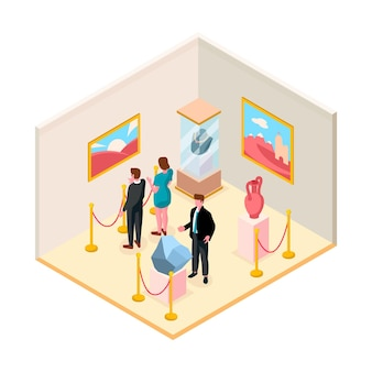 Isometric museum illustration with exhibition