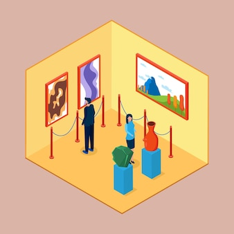 Isometric museum interior