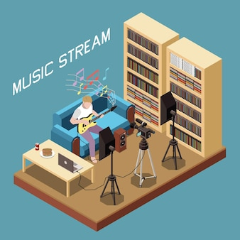 Изометрическая композиция музыкального потока с человеком, играющим на гитаре онлайн