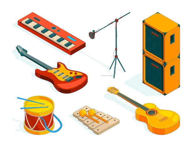 Isometric music tools.  pictures instruments of musicians