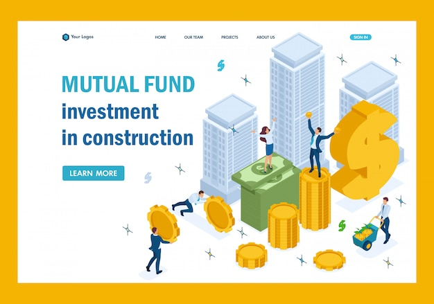 Isometric mutual fund investment in construction, investors have money landing page
