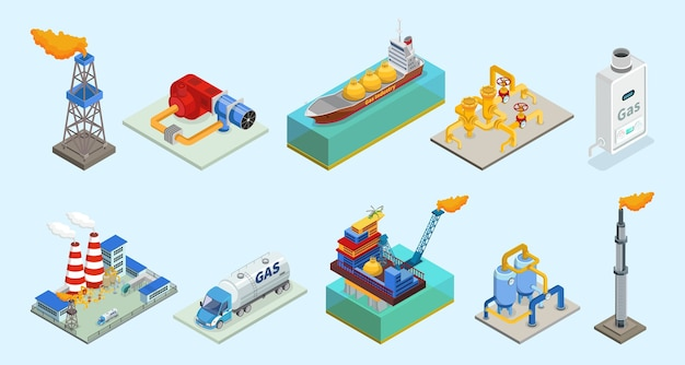 Isometric natural gas industry elements set with rig truck tanker burner pipelines refinery plant offshore platform column isolated