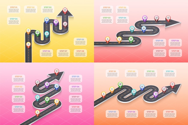 Isometric navigation map infographic 8 steps timeline concept.