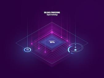 デジタル技術、ビッグデータ処理、サーバールーム、技術の未来の等尺性ネオンバナー