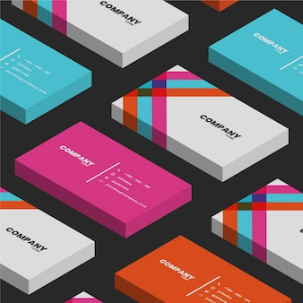 Isometric neon colours business cards