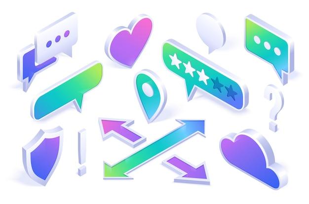 Isometric neon icons set
