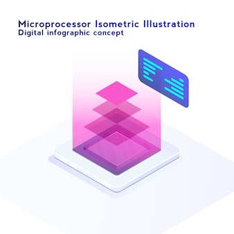 Isometric neon styled illustration of cpu chip. electronic digital with computer microprocessor with processing layers concept.