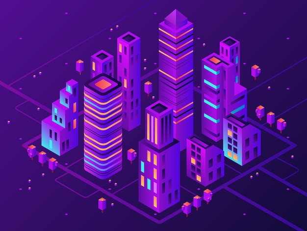 Isometric neon town. futuristic illuminated city, future megapolis highway illumination and business district 3d vector illustration