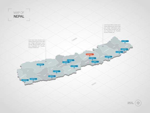 等尺性ネパールの地図。都市、国境、首都、行政区画、ポインターマークのある定型化された地図のイラスト。グリッドとグラデーションの背景。