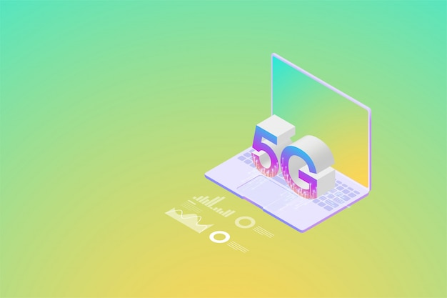 Isometric new 5g wireless network the next generation of internet communications, internet of things on smartphone connectivity.