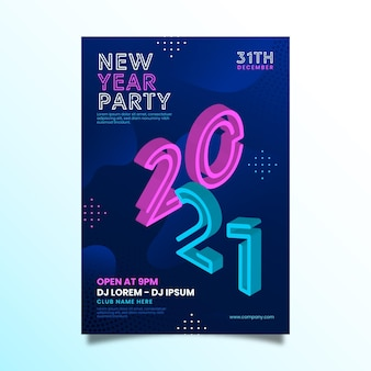Isometric new year 2021 party flyer template
