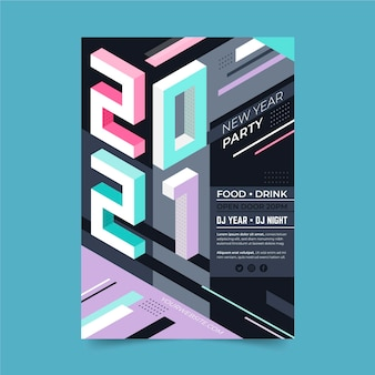 Isometric new year 2021 party poster template