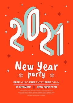 Isometric new year 2021 poster template