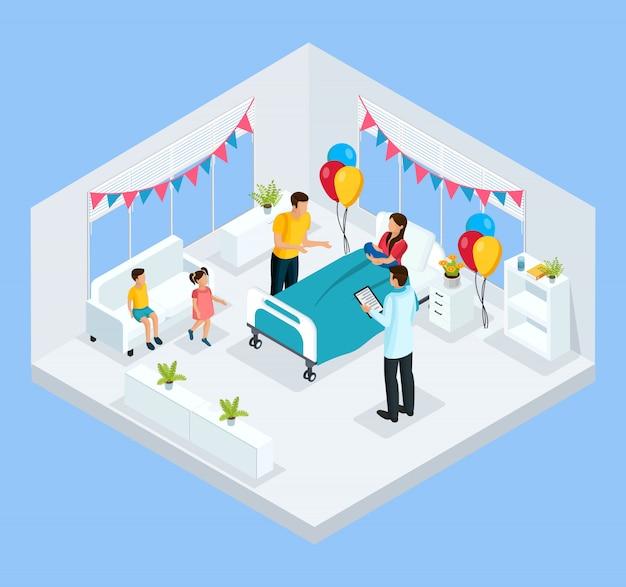 Изометрическая концепция новорожденного с отцом и врачом поздравляют мать с рождением ребенка в изолированной клинике