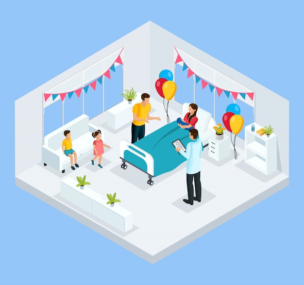 Isometric newborn concept with father kids and doctor congratulate mother with child birth in clinic isolated
