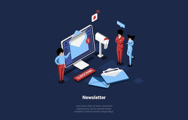 Isometric newsletter conceptual illustration in isometric style.