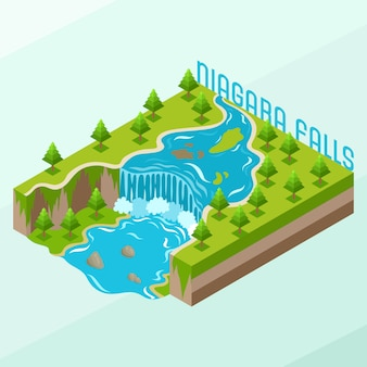 Isometric niagara waterfalls