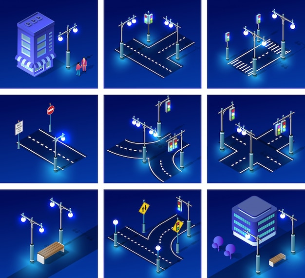 Isometric night light lighting