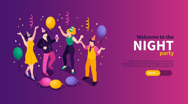 Isometric night party banner template